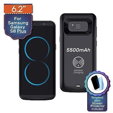 Samsung Galaxy S8 5500mAh Carcasa Protectora De Cargador De Batería De Respaldo, hasta 260% banco de energía de carga rápida. Regalo: Protector de ...