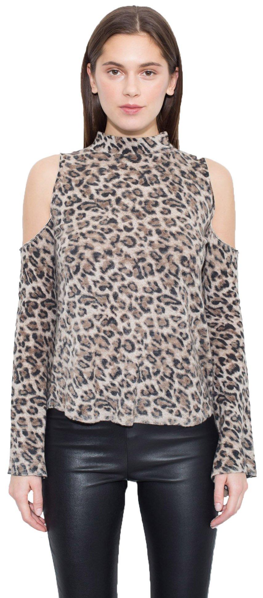 Generation Love Lena L/S Mock Neck Cold Shoulder Cashmere Sweater In Leopard, m