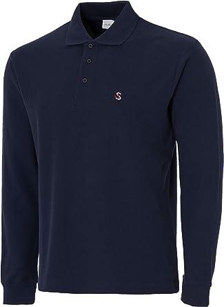 9b13e622ae922e John Shark Long Sleeve Polo Shirts for Men Designer Neck Tops Grey Black  Navy (S