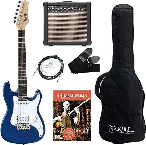 Rocktile Guitarra eléctrica Sphere Junior 3/4 azul (con amplificador, cable y correa): Amazon.es: Instrumentos musicales