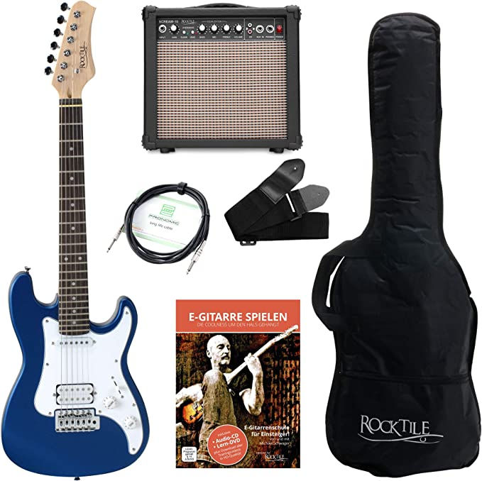 con amplificador, cable y correa Rocktile Guitarra el/éctrica Sphere Junior 3//4 sunburst