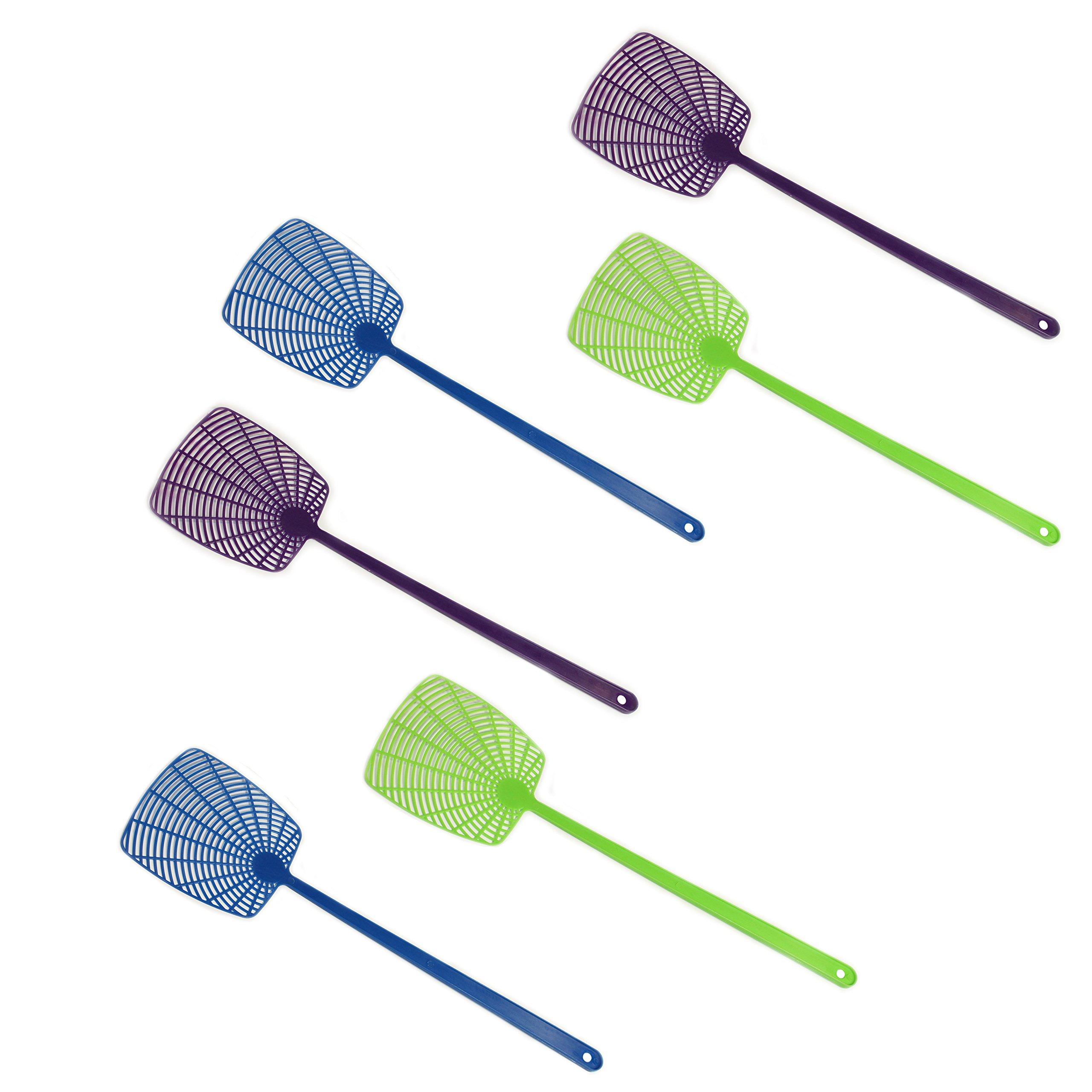 Pack of 6 Fly Swatters, Assorted Colors