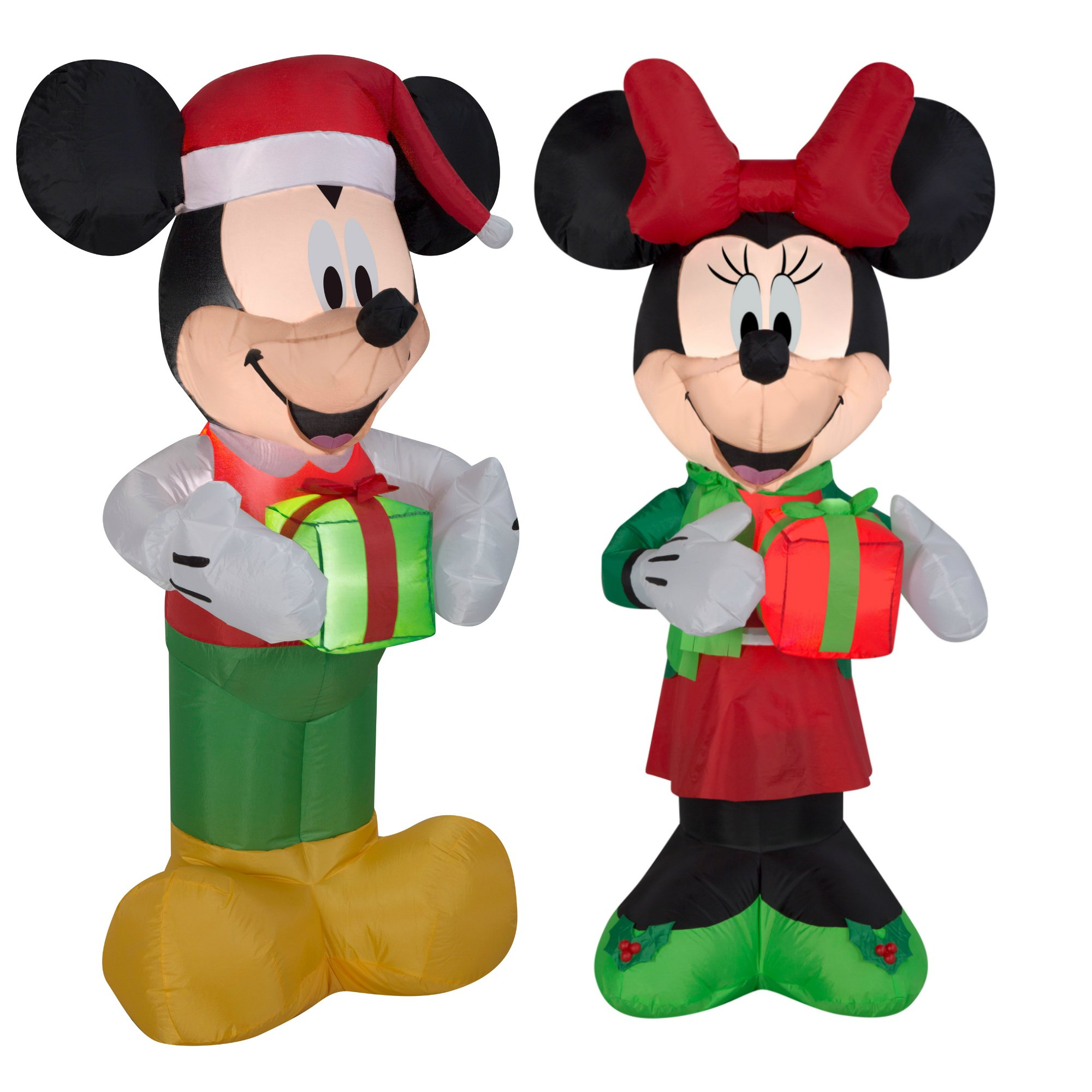 Inflatable Mickey And Minnie Christmas Yard Decorations, 5 Feet Tall, Self Inflatable With Energy Efficient LED