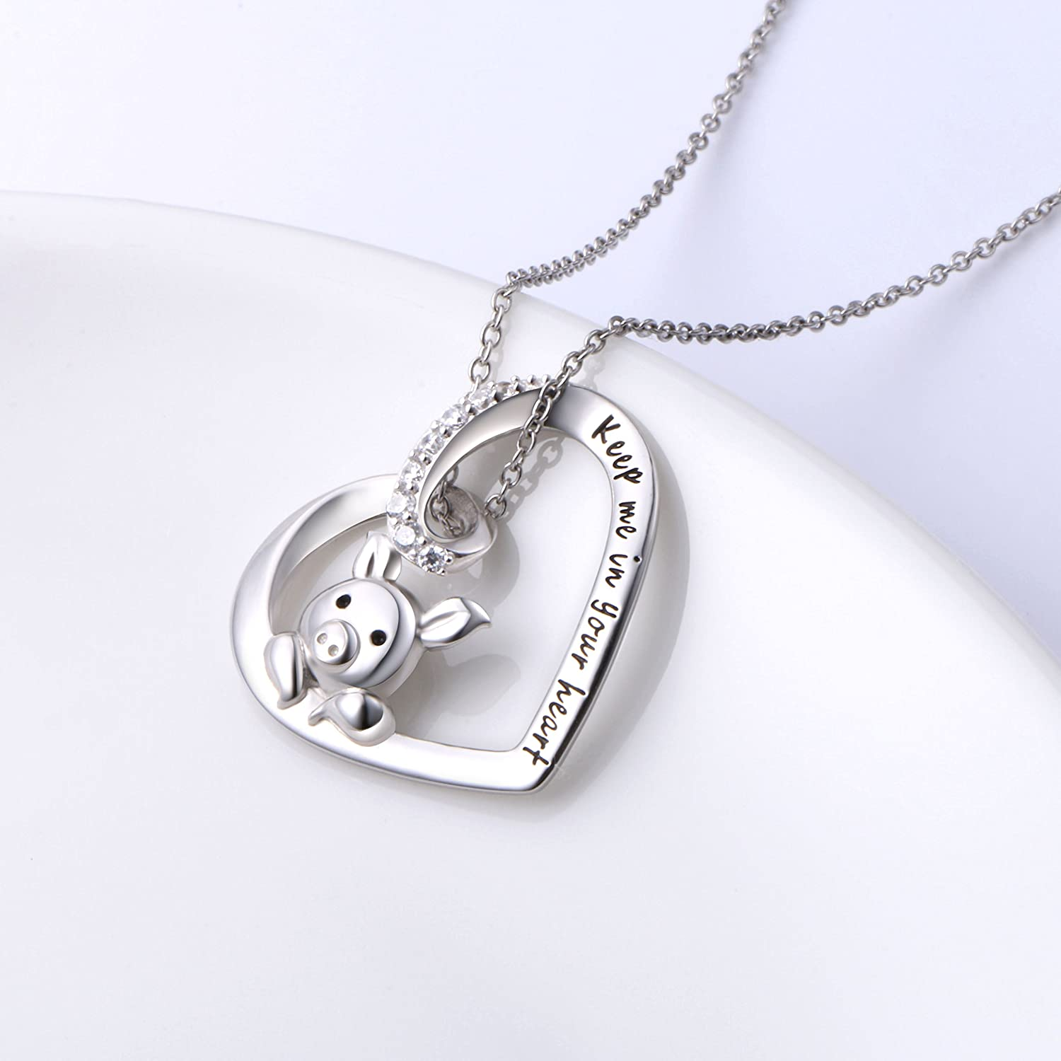 New Fashion Cute Romantic Pig Girlfriend Gift Necklace,925 Sterling Silver,Minimalist Necklace,Boho Necklace,Gift for her,Bridesmaids Gift