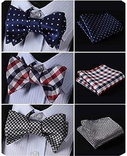 8633618d9afb HISDERN 3pcs Mixed Design Classic Men's Self-Tie Bow tie & Pocket Square -  Multiple