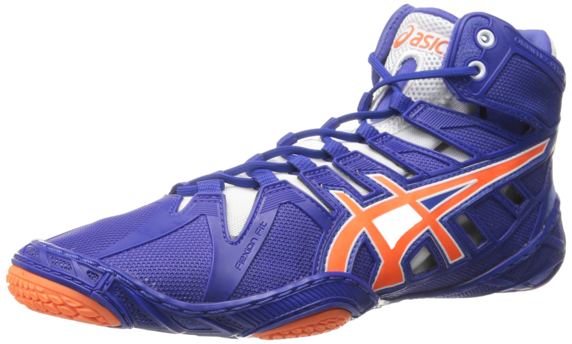 ASICS Men's Omniflex-Attack 2 Wrestling Shoe, True Blue/Shocking Orange/White, 11.5 M US