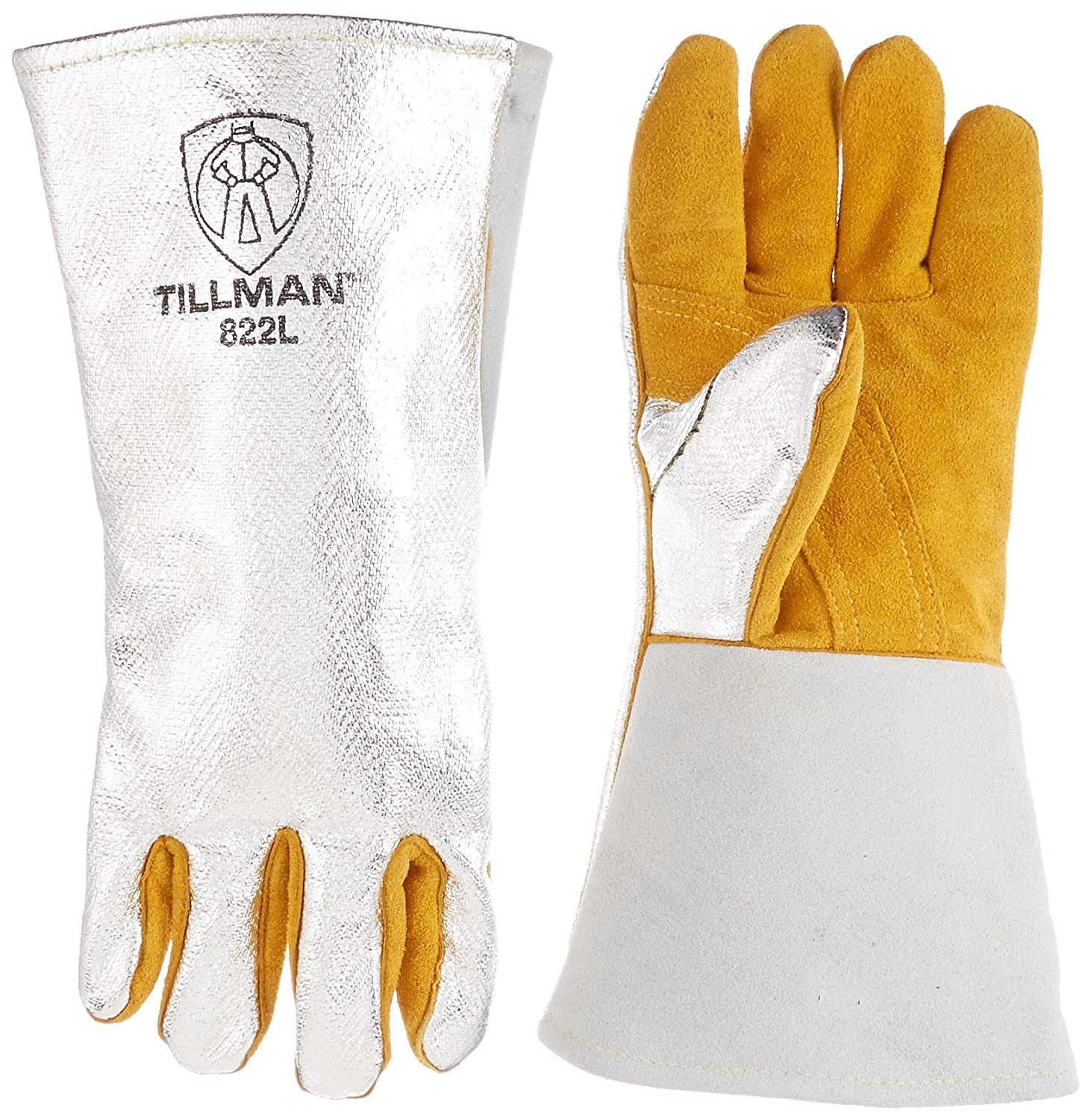 Tillman leather work gloves - John Tillman And Co 822l Leather And Aluminized Kevlar Wool Lined Aluminized Welding Glove With Gauntlet Cuff Large Silver Brown Amazon Com Industrial