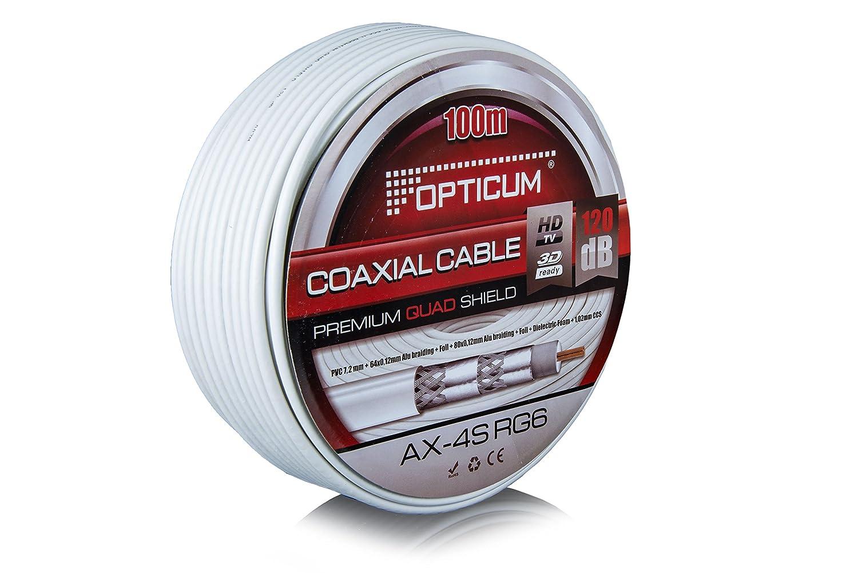 Opticum Cable coaxial (120 dB Anillo 100m, 4 blindado, RG6, Acero/Cobre, 7,2 mm) de Color Blanco: Amazon.es: Electrónica
