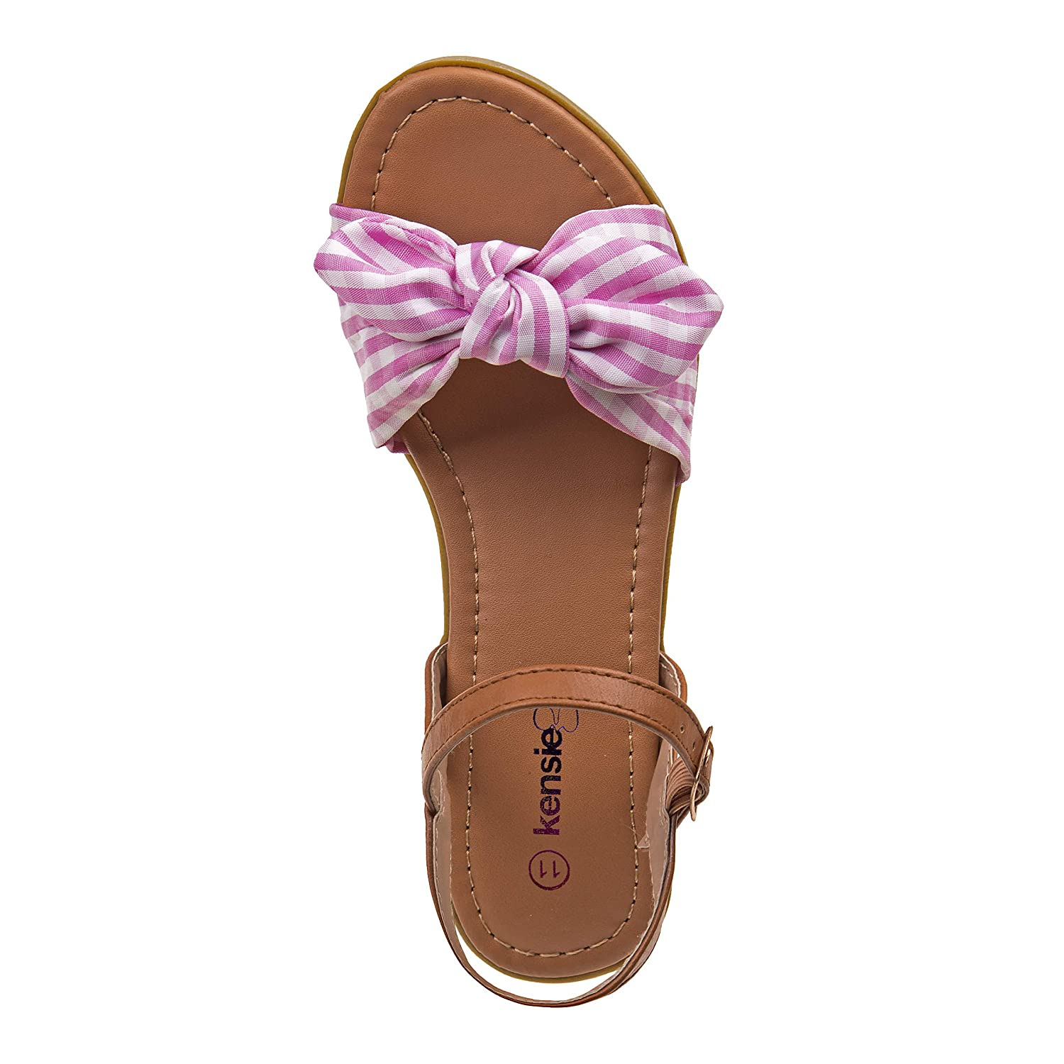 e84ea3ad0ce Kensie Girl Gingham Bow Sandals with Easy Elastic Buckle and Rugged Sole  (Little Kid/Big Kid)