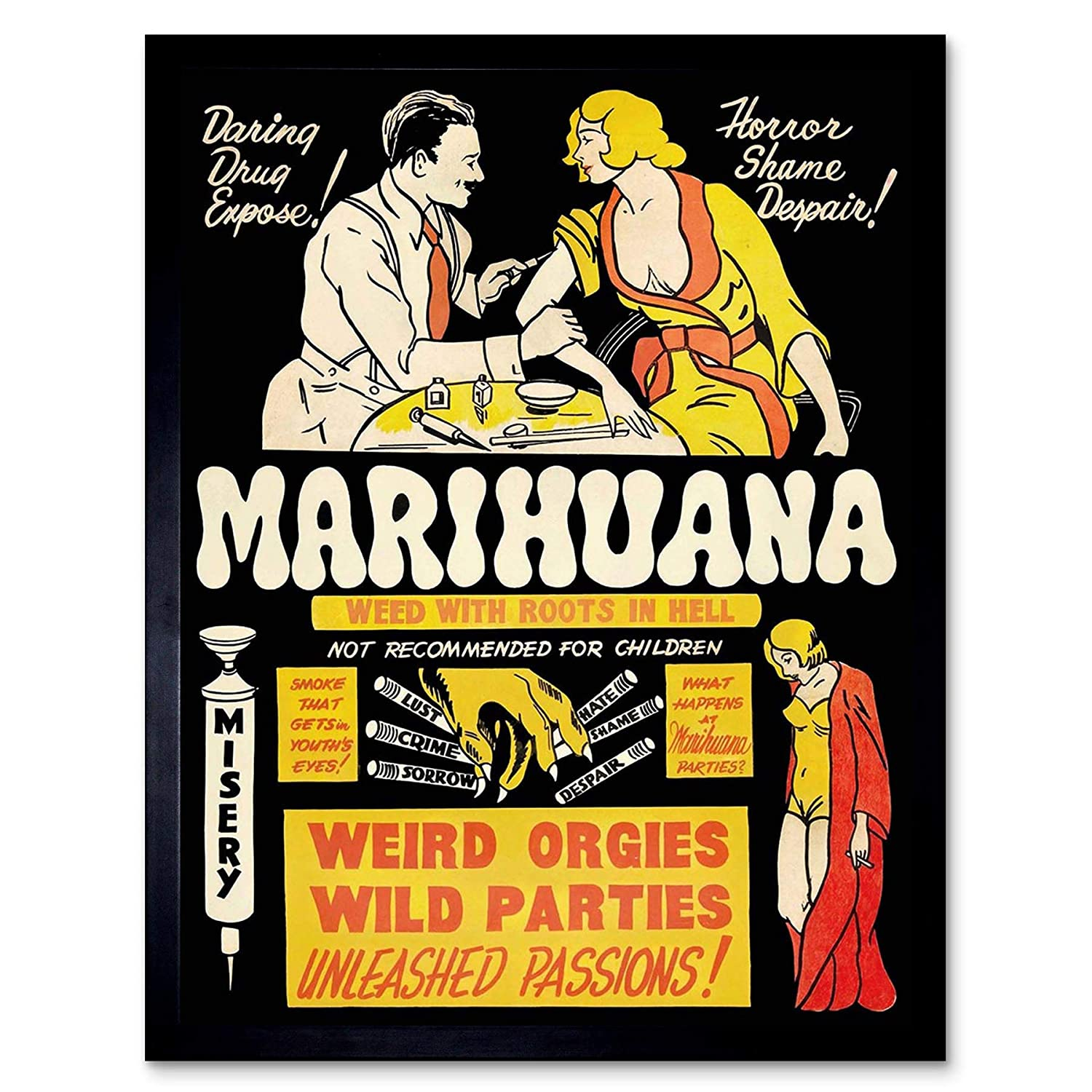 7e05fc7376b Amazon.com  Wee Blue Coo Propaganda Political Drug Abuse Marijuana Weed  Weird Unframed Wall Art Print Poster Home Decor Premium  Home   Kitchen