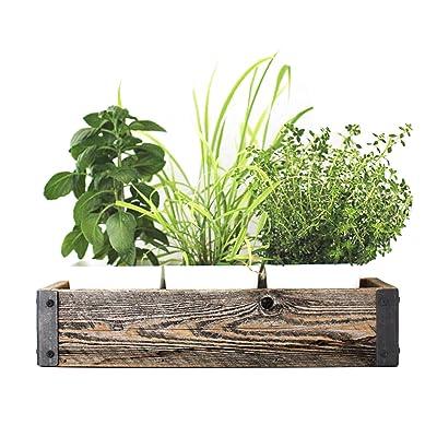 "My Barnwood Frames Reclaimed Wood Planter Box with Metal Brackets (Medium - 24"") : Garden & Outdoor"