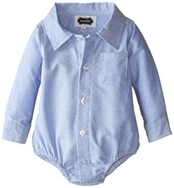 Mud Pie Baby-Boys Newborn Oxford Button Down Crawler, Blue, 0-6