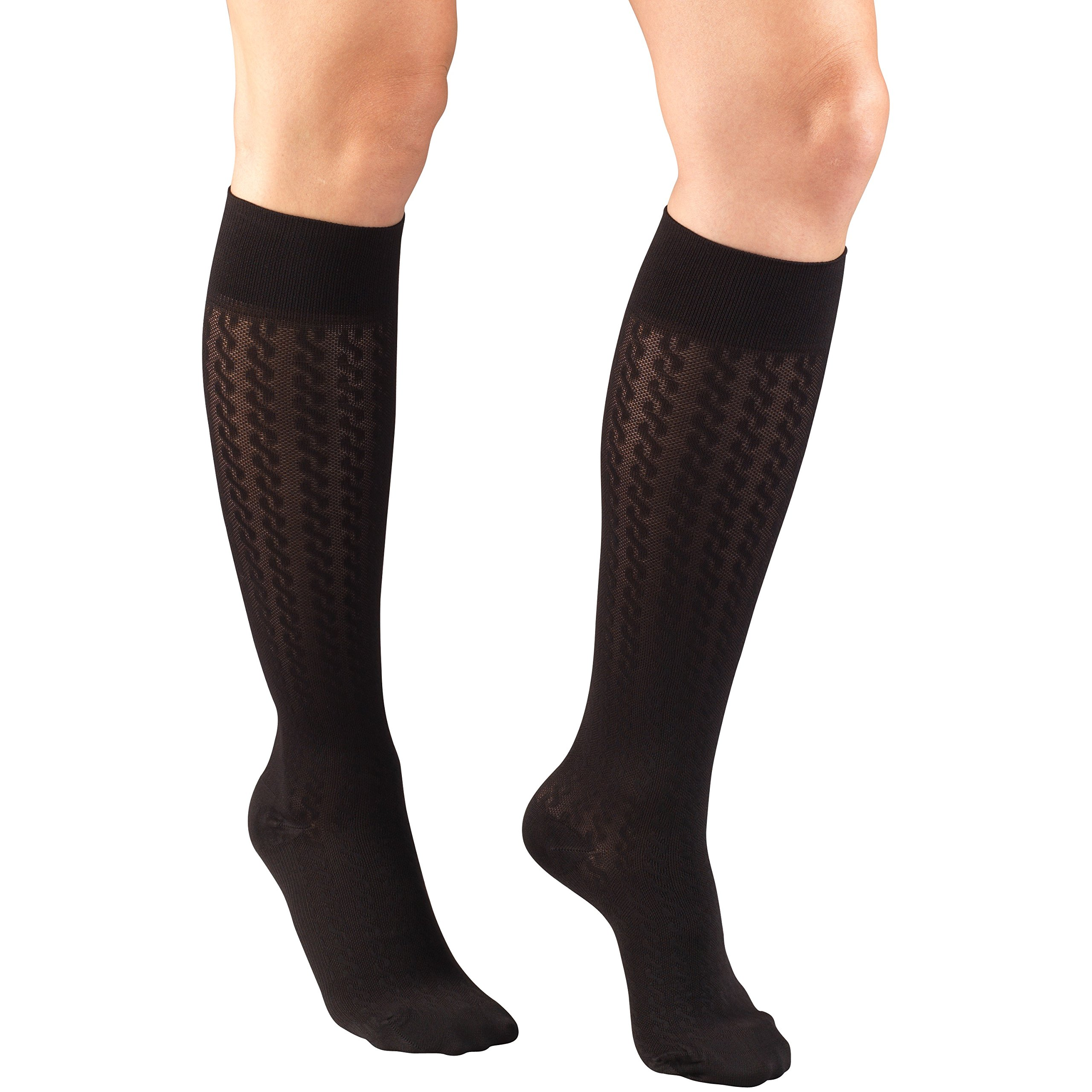 Truform Compression Socks for Women, 15-20 mmHg, Black Cable Pattern, Medium