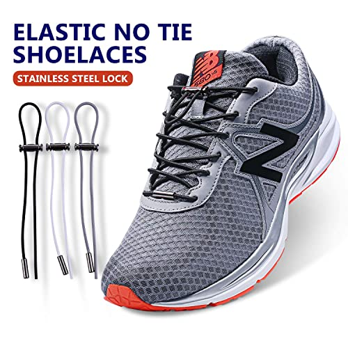 84d9332746ed0 No Tie Elastic Shoelaces for Kids and Adults, 2019 New (Upgrade) Stainless  Shoe Laces Lock