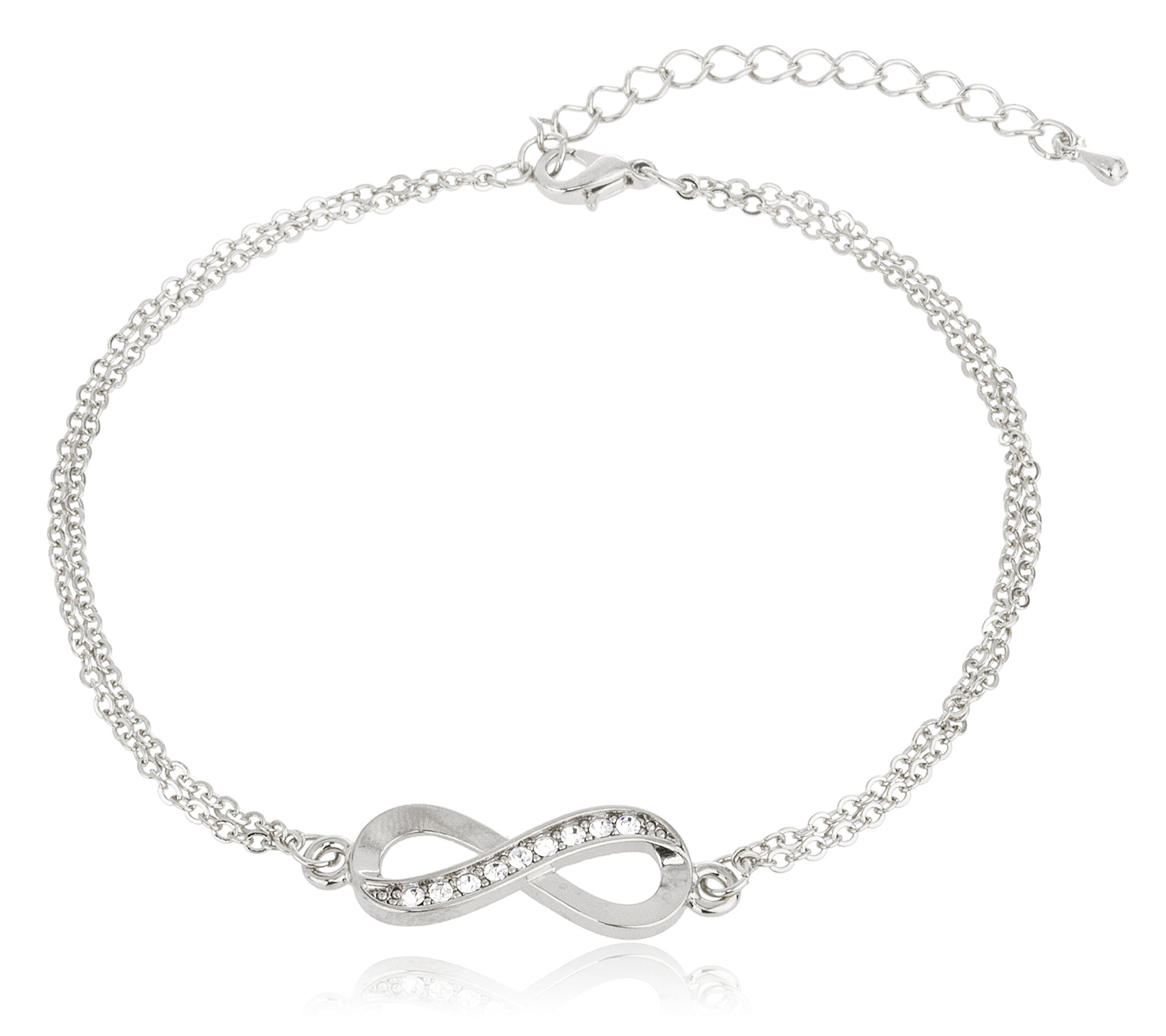 Silvertone Infinity Adjustable Charm Anklet with Stones (J-898)