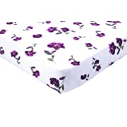 Margaux & May Crib Sheet - Fitted muslin cotton baby and toddler bedding for your nursery - Standard full size - Single sheets - Purple floral for girls - Breathable - Super soft for rested sleep