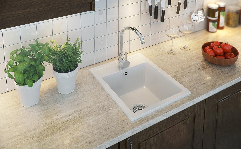 Granitspüle weiß, 1-Becken, Siphon, Spülbecken, Küchenspüle ...
