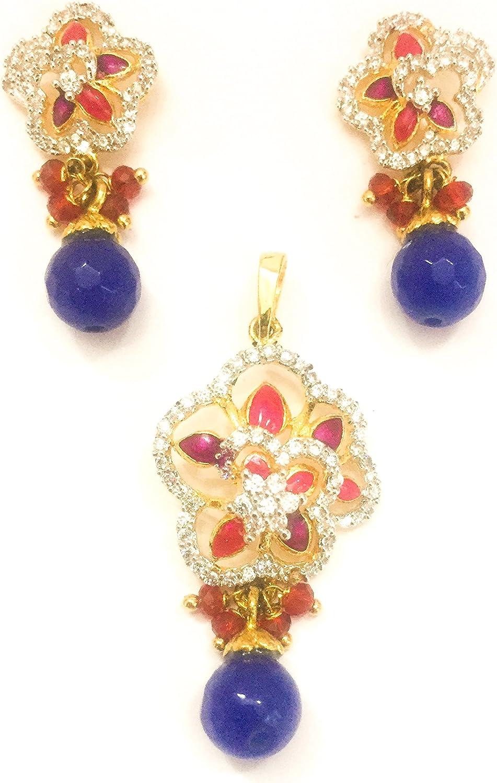 shre jewellery Womens Multicolour Stone American Diamond Pendant Set