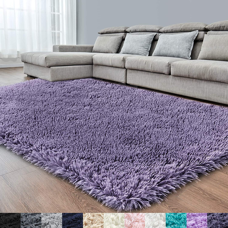 Grey Purple Soft Area Rug for Bedroom,4x6,Fluffy Rugs,Furry Rugs for Living Room,Shag Rug for Girls Boys Room,Fuzzy Rugs for Kids Baby Room,Shaggy Rug for Nursery Dorm Room,Non-Slip Rug,Home Decor