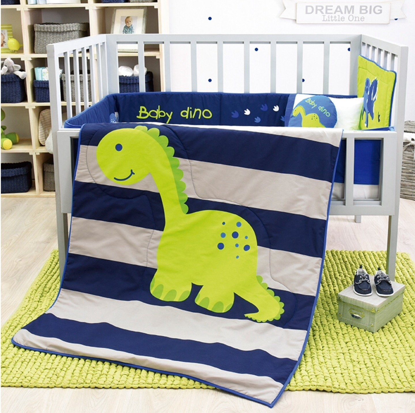 DINOSAURS CRIB BEDDING SET SHEET 6 PCS COMFORTER, BUMPER GUARD, HEAD BOARD LIMITED EDITION Vianney 200-1