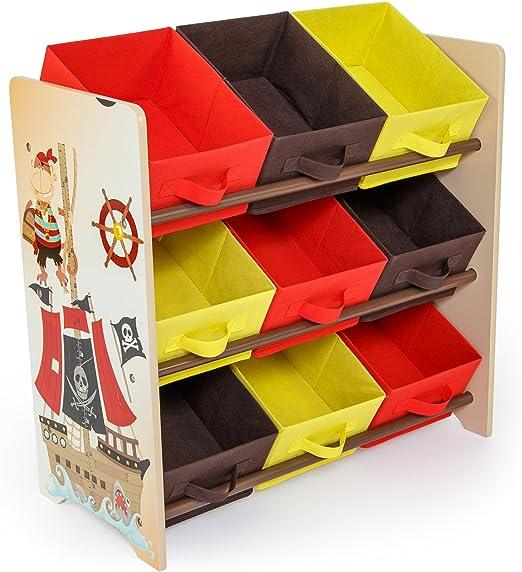 Homestyle4u niños de Muebles Estante Caja de almacenaje con diseño de Pirata, Madera, Multicolor, 30 x 30 x 30 cm: Amazon.es: Hogar