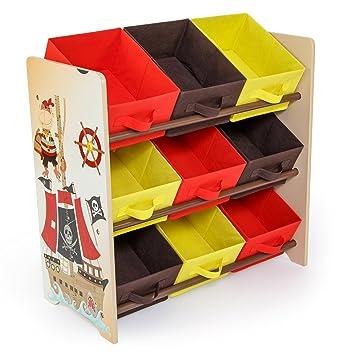 Homestyle4u 1118 Kinderregal Pirat Spielzeugregal 9 Farbige Boxen