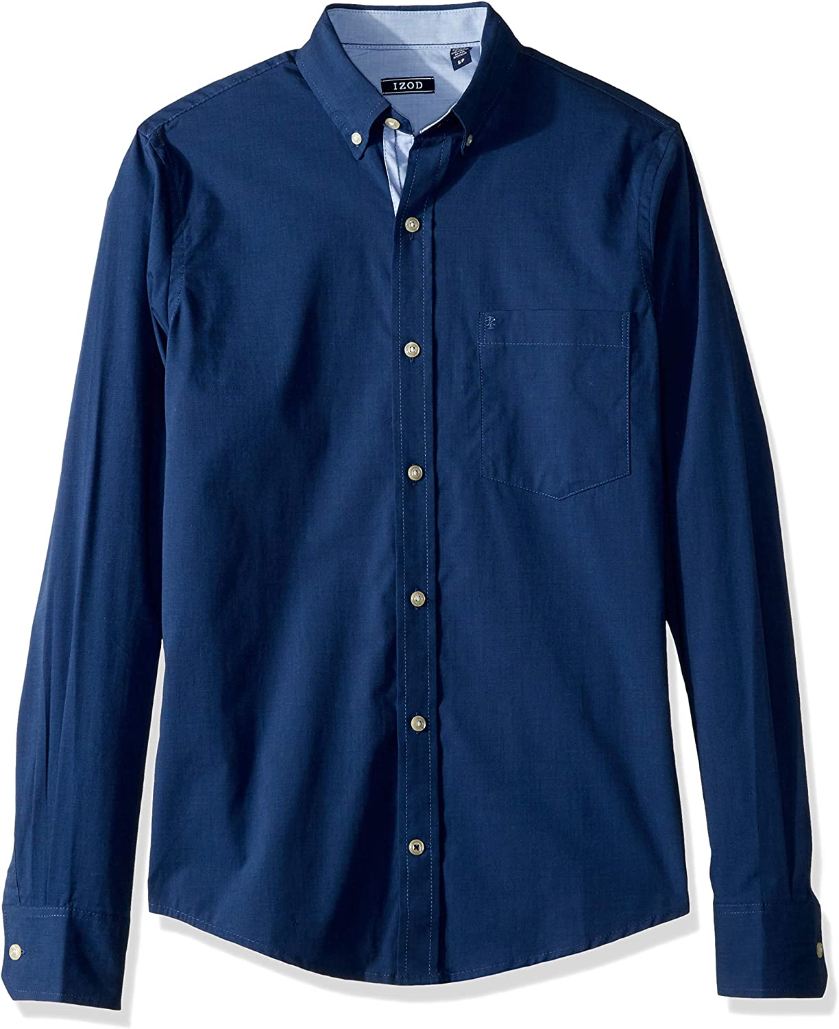 IZOD Men's Slim Fit Button Down Long Sleeve Stretch Performance Solid Shirt (Discontinued)