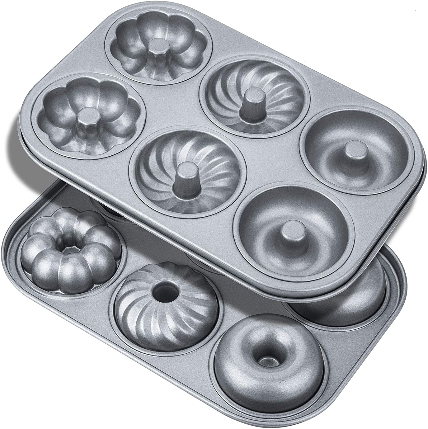 Donut Baking Pans, Non-Stick 6-Cavity With 3 Different Style Donut Pan, Food-grade Carbon Steel Cake Baking Pan, Dishwasher Safe, 2-Count