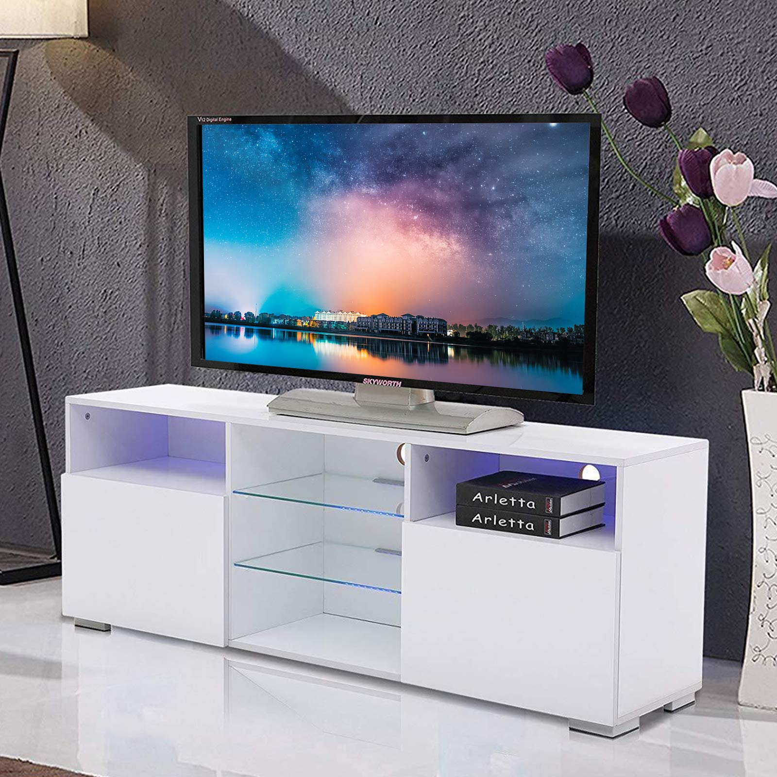 mecor High Gloss TV Stand with LED Lights, Modern White TV Stand for 58 Inch TV Console Storage Cabinet with 3 Layers, 2 Doors and Open Shelf by mecor
