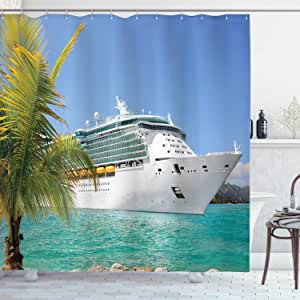 Ambesonne Cruise Ship Decor Collection, Cruise Ship Sailing from Port Vacation Tropic Relaxation Traveling Sunshine Maritime View, Polyester Fabric Bathroom Shower Curtain, 84 Inches Extra Long, Aqua