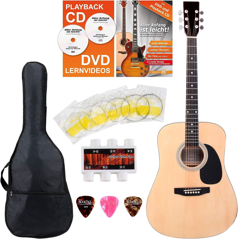 Classic Cantabile guitarra acústica set principiantes incl. set de accesorios de 5 piezas natural