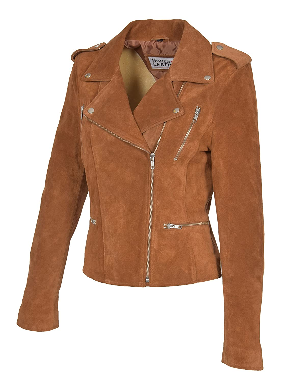 Rusty Womens Genuine Suede TAN Biker Jacket Girls X-Zip Fitted Leather Coat