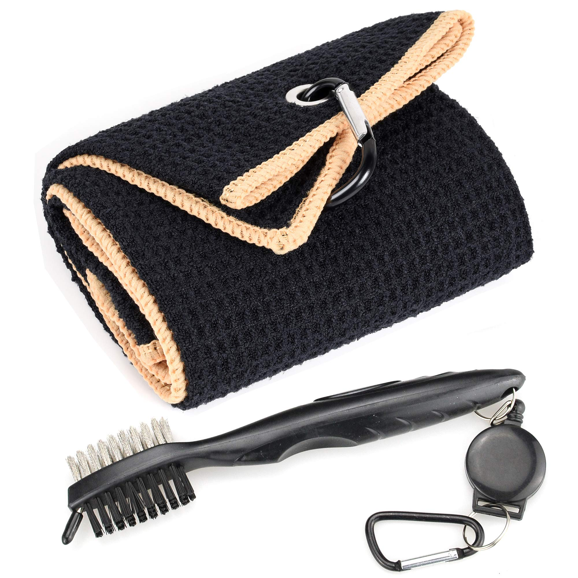 Mile High Life Microfiber Waffle Pattern Tri-fold Golf Towel | Brush Tool Kit with Club Groove Cleaner, Retractable Extension Cord and Clip (Black w/Yellow Towel+Black Brush) by Mile High Life