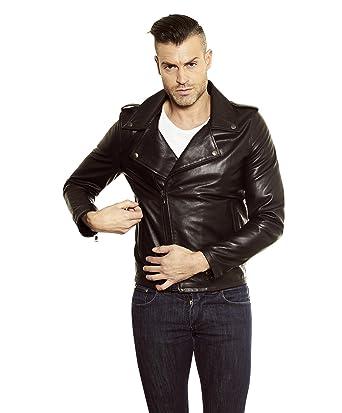 394dcae4af324 D'Arienzo - CLOU • couleur noir • blouson cuir homme perfecto cuir plongé:  Amazon.fr: Vêtements et accessoires
