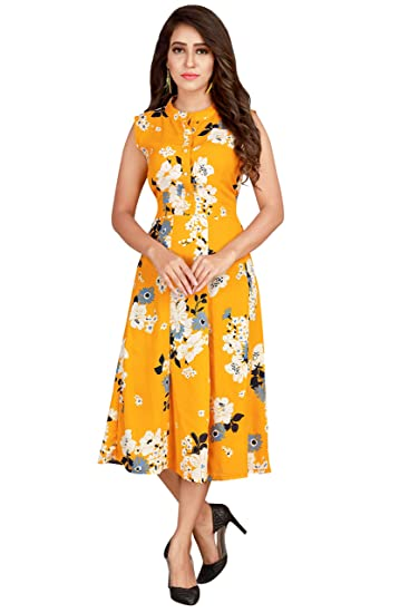 Glamorous Printed Polyester Yellow Latest One Piece Dress  Amazon.in   Clothing   Accessories 1ea369cba115