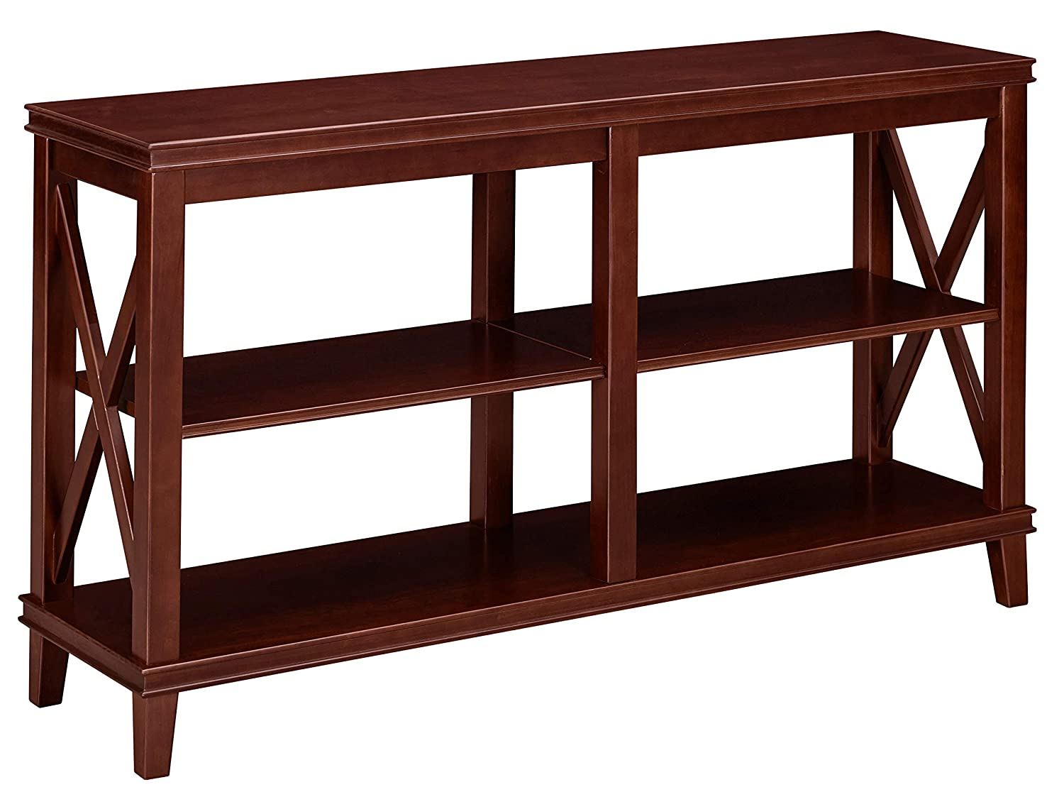 Ravenna Home Wheeler 3-Shelf Wood Storage TV Console Table Stand, 54 W, Dark Espresso