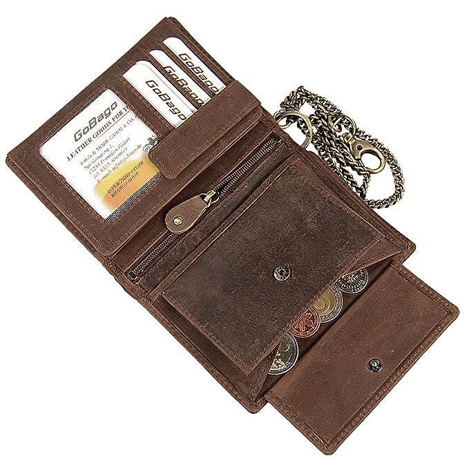 a2cda06cf4635 Branco Biker Geldbeutel mit Kette Geldbörse Portemonnaie aus robusten Leder  Kettenbörse im Vintage Look Bikerbörse GoBago (Dunkelbraun)  Amazon.de   Koffer