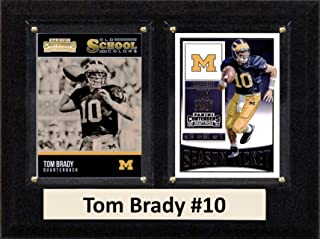"""product image for C&I Collectables NCAA Michigan Wolverines Men's Tom Brady Two Card Plaque, Brown, 6""""X8"""""""