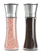 Salt and Pepper Grinder Set, Premium Pair of Salt & Peppercorn Mills with Adjustable Coarseness,Brushed Stainless Steel and Glass Body Shakers(2 Pack) by OITUGG