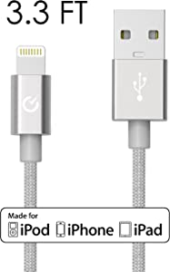 [Apple MFi Certified] Volts 3ft Silver Nylon Braided Lightning to USB Cable Charger w/ Aluminum Case on 8 pin Connector. Tangle Free Premium Accessories Made for iPhone, iPad, iPod. (3.3ft / 1 meter Silver)