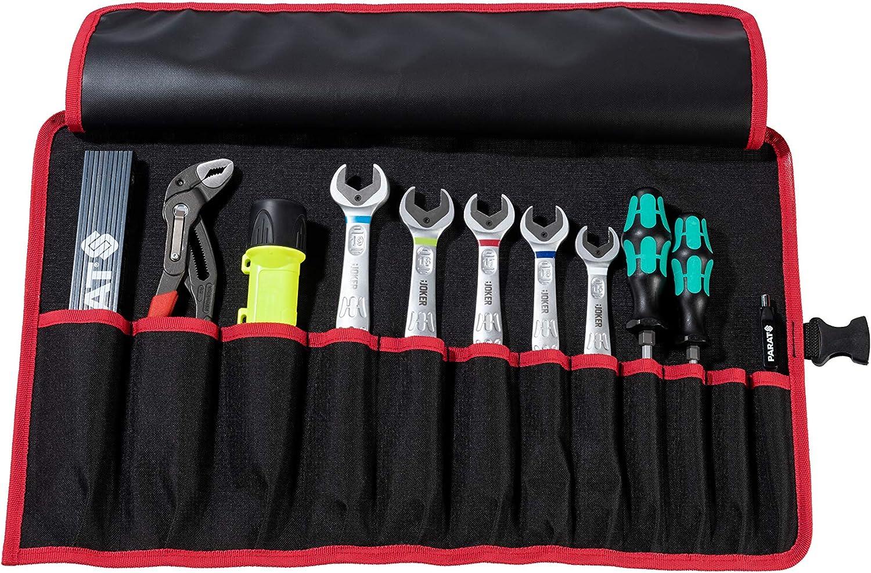 540 x 330 x 5 mm Noir, Parat 5990827991 Basic Sac /à outils Roll-Up Case 12 compartiments, nylon, avec fermeture enfichable, 54 x 33 x 0,5 cm B x H x T