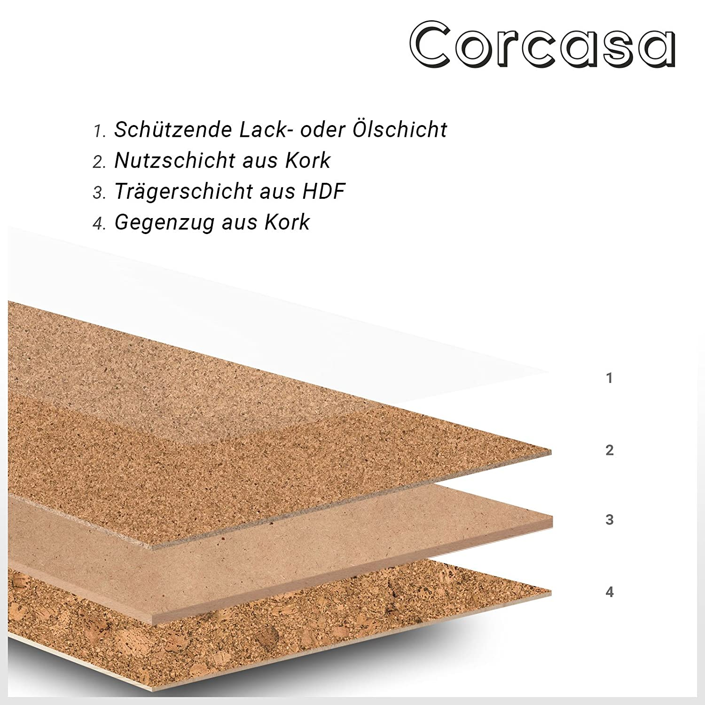 CORCASA Korkboden grob strukturiert lackiert Klicksystem warmer Kork Bodenbelag Klick Atacama