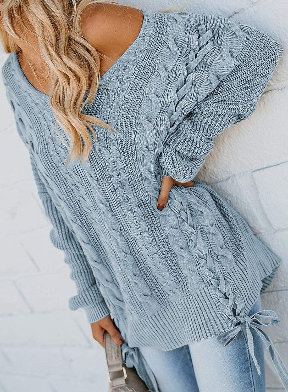 Happy Sailed Damen V-Ausschnitt Langarm Strickpullover Strickpulli Stricksweater Stricksweatshirt Strick Langarmshirt S-XL