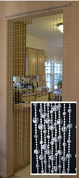 Amazoncom Hanging Beaded Door Curtainsdividers Crystal White - Crystal hanging room divider