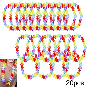 dp amazon lei hawaiian party flower necklace rainbow com ql bright