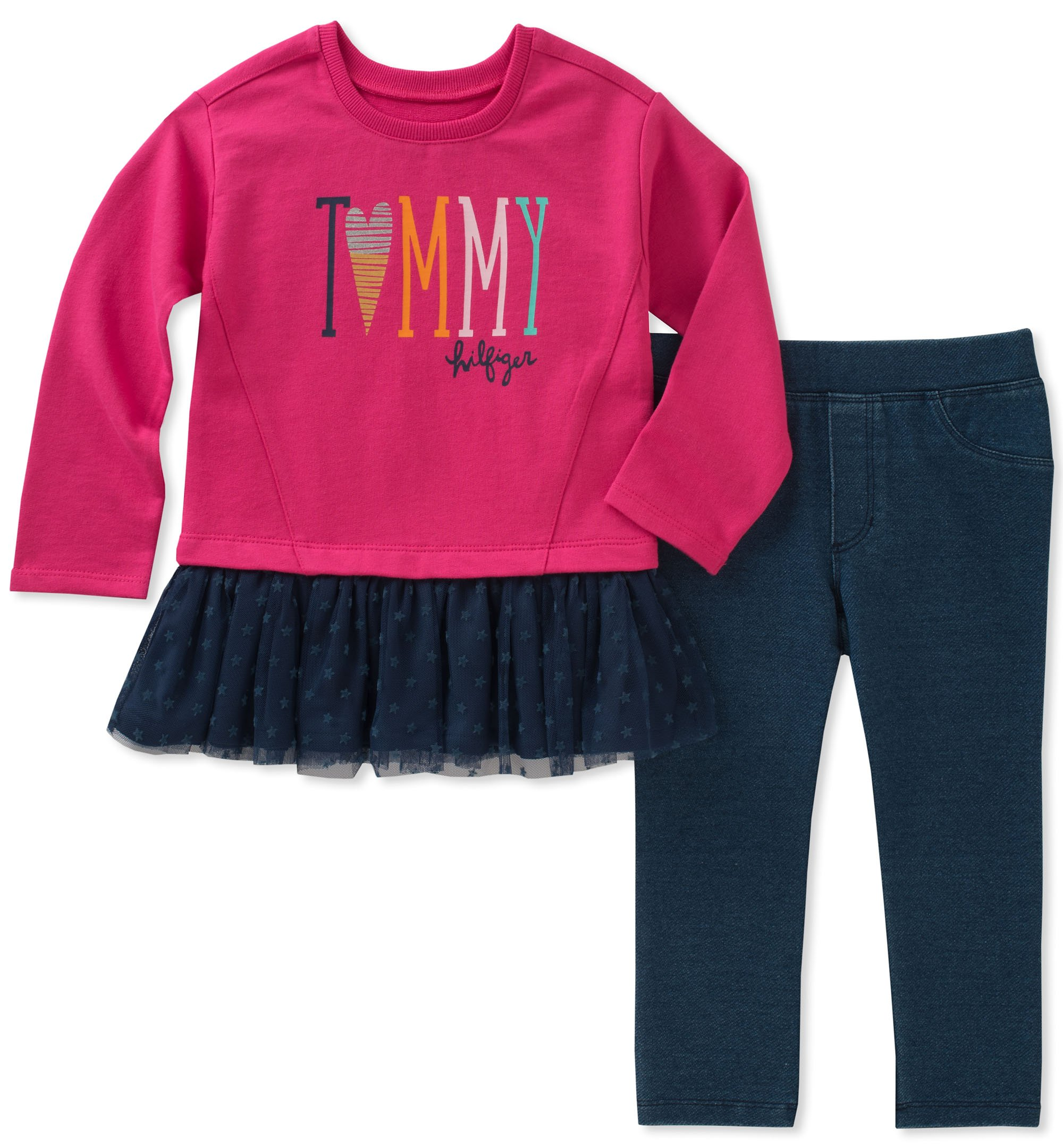 Tommy Hilfiger Baby Girls Long Sleeve Tunic Set Hot Pink Blue 24M