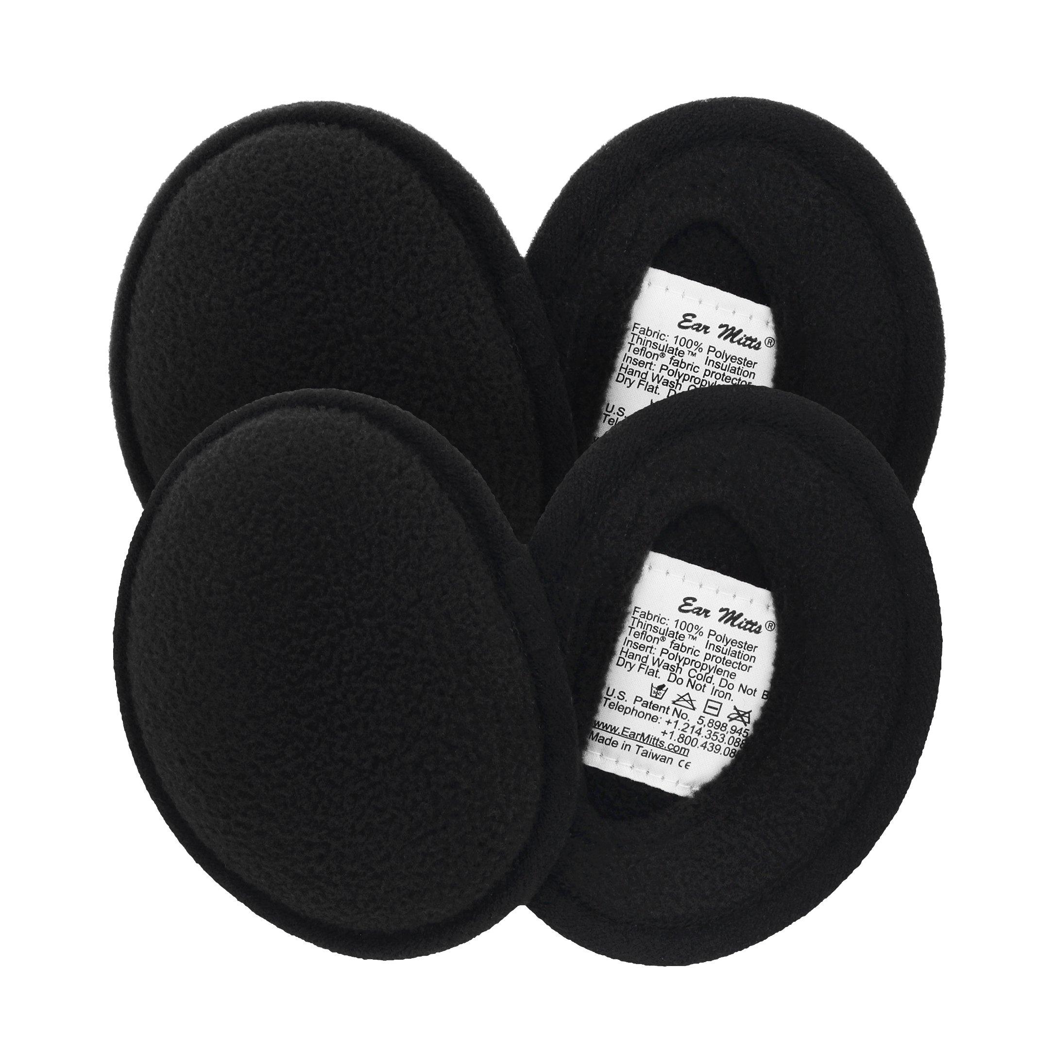 2 Pack Ear Mitts Fleece Bandless Winter Ear Muffs For Men & Women, Black, Regular