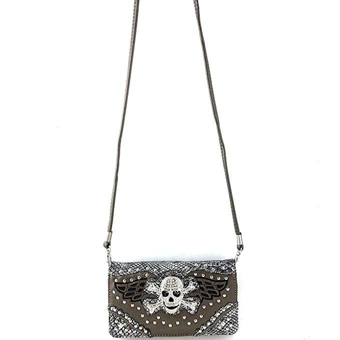 b83e36aaa207 Amazon.com  Justin West Skull Crossbones Angel Wings Bling Concealed Carry Handbag  Purse Trifold Crossbody Wallet (Pewter Wallet)  Clothing