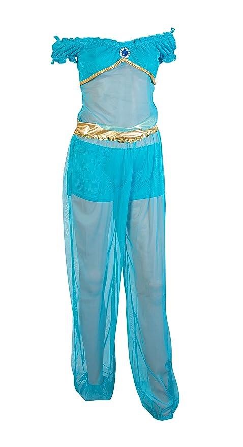 Traje del vestido de Emmas Wardrobe Princesa árabe Fantasía Azul Incluye pantalones, pantalones cortos azules y superior azul con Gem - traje árabe o ...