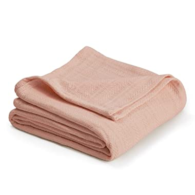 Vellux Cotton Woven Blanket, King, Light Peach